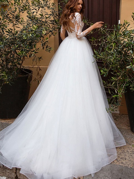 A-Line Wedding Dresses V Neck Court Train Tulle Long Sleeve Formal Casual Beach Illusion Sleeve_2