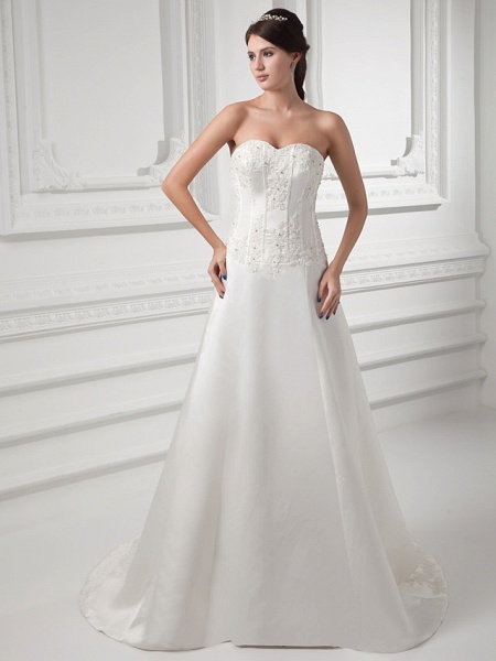 A-Line Sweetheart Neckline Court Train Satin Strapless Wedding Dresses_1