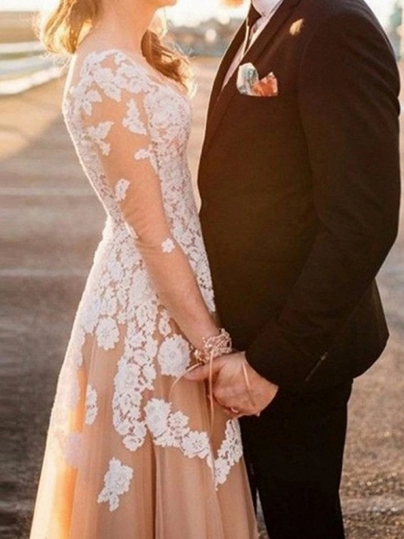 A-Line Wedding Dresses Jewel Neck Sweep \ Brush Train Lace Tulle Long Sleeve Formal See-Through_2
