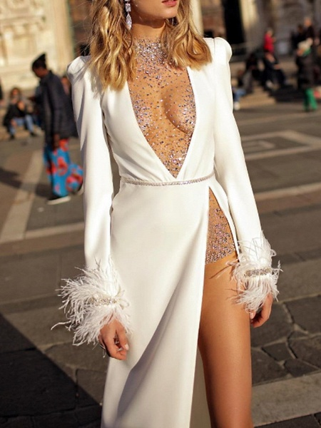 Two Piece Wedding Dresses High Neck Plunging Neck Floor Length Polyester Long Sleeve Sexy Plus Size_1