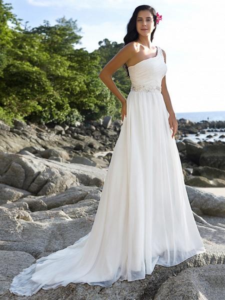 A-Line Wedding Dresses One Shoulder Court Train Chiffon Regular Straps Beach Sparkle & Shine_8