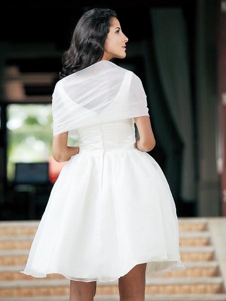 Ball Gown Wedding Dresses Square Neck Knee Length Organza Taffeta Regular Straps Little White Dress_2