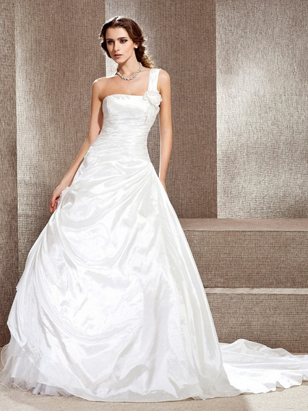 Princess A-Line Wedding Dresses One Shoulder Cathedral Train Taffeta Sleeveless_1