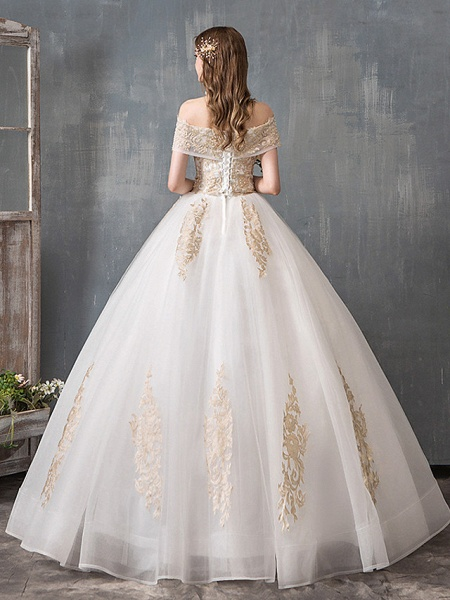 Ball Gown Wedding Dresses Off Shoulder Floor Length Lace Tulle Polyester Cap Sleeve Romantic Sexy_3