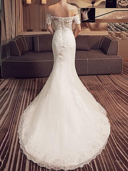 Mermaid \ Trumpet Wedding Dresses Off Shoulder Sweep \ Brush Train Lace Short Sleeve Beach_3