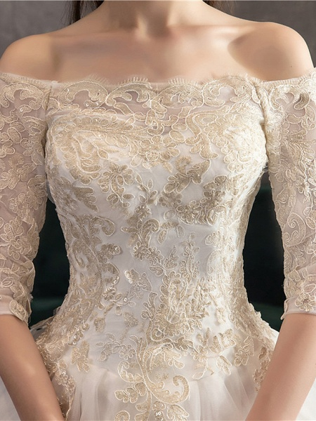 Ball Gown Wedding Dresses Off Shoulder Watteau Train Lace Tulle Polyester 3\4 Length Sleeve Romantic Illusion Sleeve_5