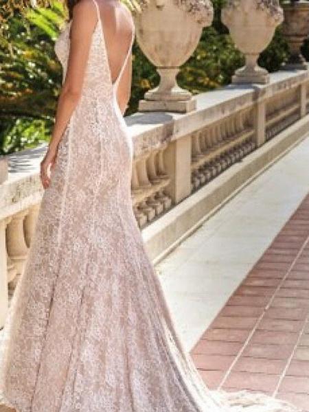 Mermaid \ Trumpet Wedding Dresses Spaghetti Strap Sweep \ Brush Train Chiffon Lace Sleeveless Country Plus Size_2