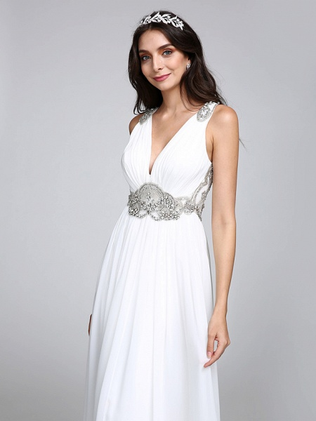 A-Line Wedding Dresses V Neck Sweep \ Brush Train Chiffon Regular Straps Country Romantic Glamorous Sparkle & Shine Plus Size Backless_8