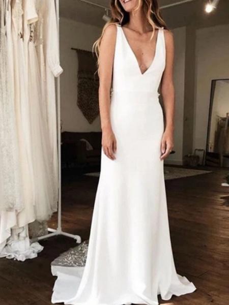 A-Line Wedding Dresses V Neck Court Train Charmeuse Regular Straps_1