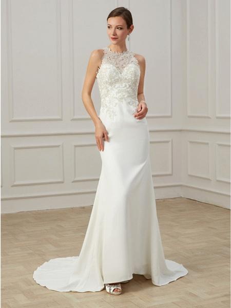 Mermaid \ Trumpet Wedding Dresses Jewel Neck Sweep \ Brush Train Lace Tulle Sleeveless Formal Illusion Detail Plus Size_3