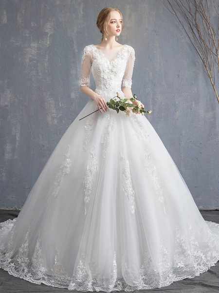 Ball Gown Wedding Dresses Scoop Neck Chapel Train Lace Tulle Sequined Half Sleeve Glamorous See-Through Illusion Sleeve_4