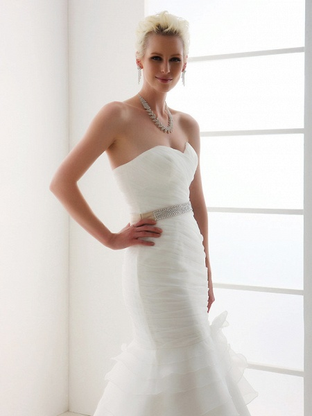 Mermaid \ Trumpet Wedding Dresses Sweetheart Neckline Court Train Organza Satin Sleeveless_5