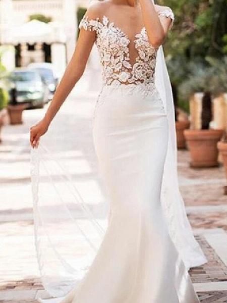 Mermaid \ Trumpet Jewel Neck Court Train Lace Satin Cap Sleeve Sexy See-Through Wedding Dresses_1