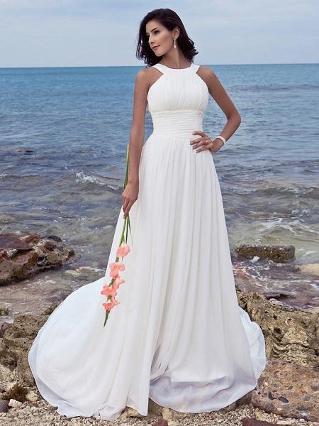 A-Line Wedding Dresses Jewel Neck Sweep \ Brush Train Chiffon Regular Straps Formal Beach Plus Size_5
