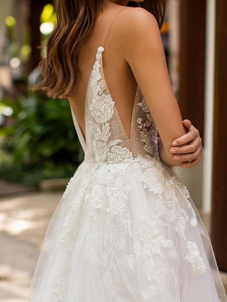 A-Line Wedding Dresses V Neck Court Train Lace Tulle Sleeveless Formal Sexy_3
