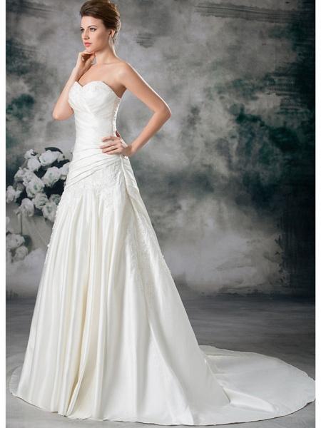 A-Line Sweetheart Neckline Chapel Train Lace Satin Strapless Wedding Dresses_2