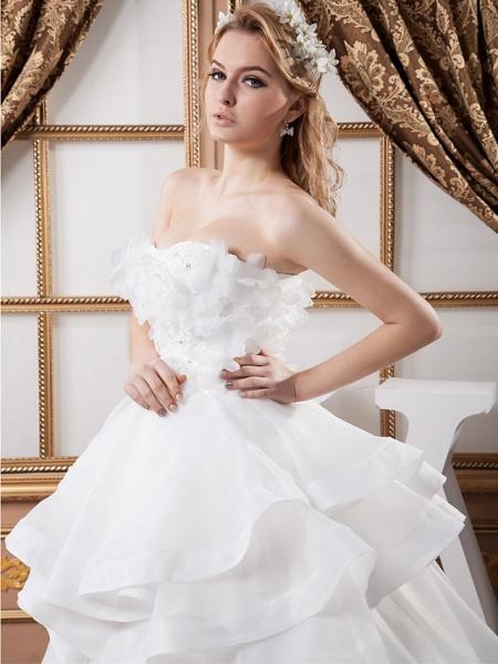 Ball Gown Strapless Floor Length Organza Satin Strapless Plus Size Wedding Dresses_5