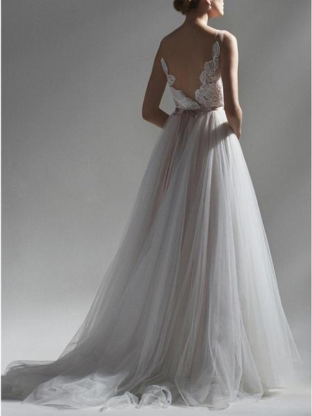 A-Line Wedding Dresses V Neck Sweep \ Brush Train Lace Tulle Regular Straps Romantic Boho Plus Size_2