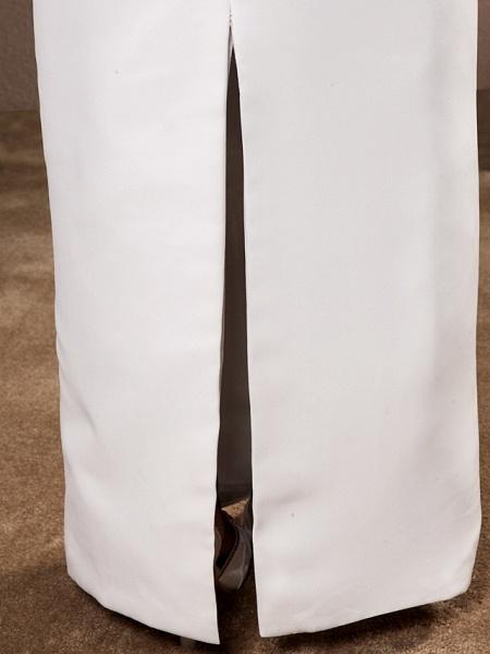 Sheath \ Column Wedding Dresses Bateau Neck Floor Length Chiffon Sleeveless_10