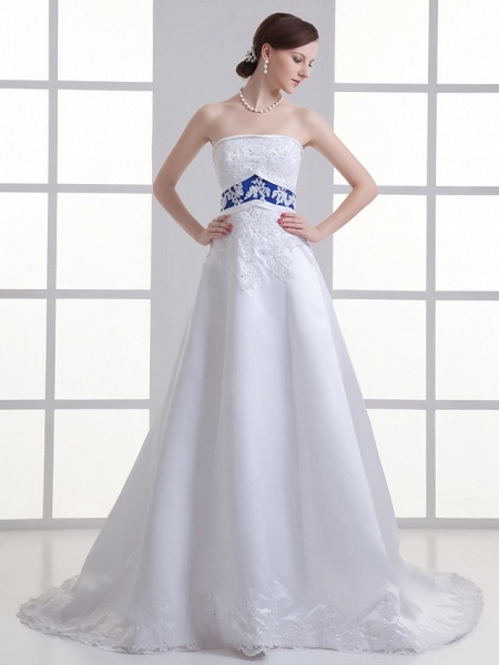 A-Line Strapless Court Train Lace Satin Strapless Wedding Dresses_1