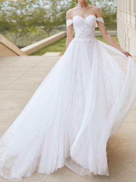 A-Line Wedding Dresses Off Shoulder Court Train Tulle Short Sleeve Formal Plus Size_1