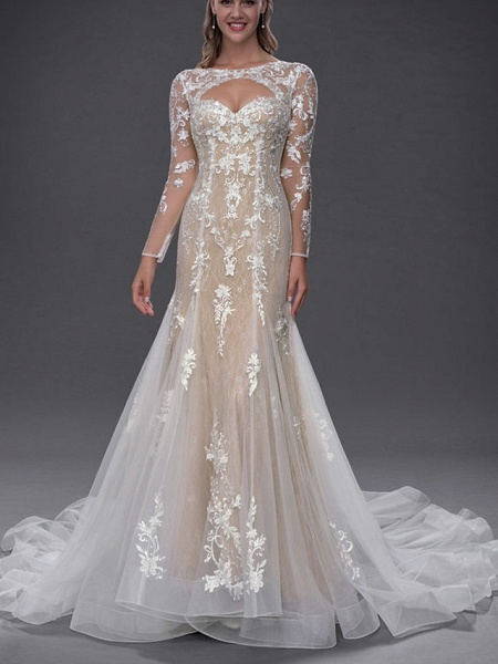 Mermaid \ Trumpet Jewel Neck Chapel Train Lace Tulle Long Sleeve Sexy See-Through Wedding Dresses_1