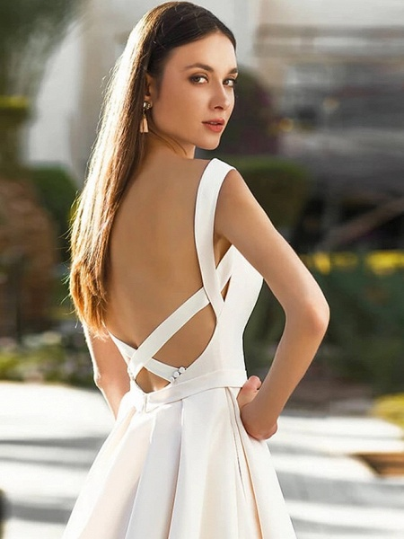 A-Line Wedding Dresses Bateau Neck Court Train Polyester Cap Sleeve Beautiful Back_3