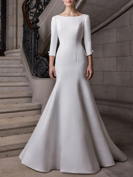 Mermaid \ Trumpet Wedding Dresses Bateau Neck Court Train Satin 3\4 Length Sleeve Plus Size Elegant_1