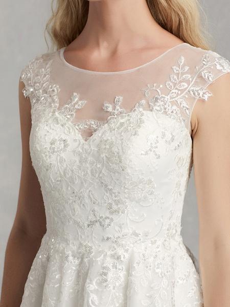 A-Line Wedding Dresses Jewel Neck Tea Length Lace Tulle Cap Sleeve Beautiful Back_7