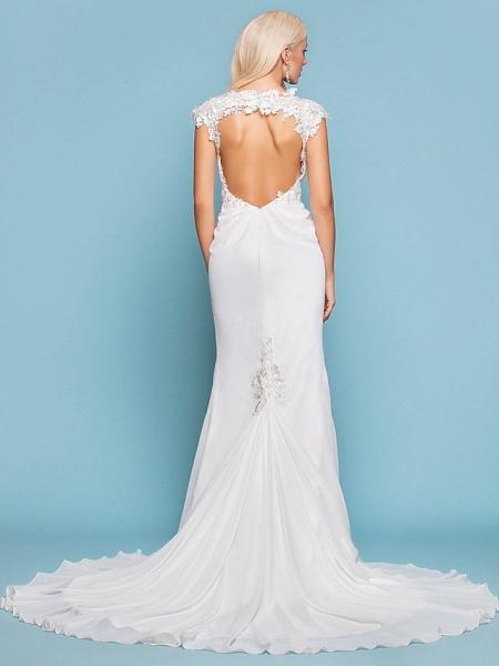 Mermaid \ Trumpet Wedding Dresses Jewel Neck Court Train Chiffon Short Sleeve Open Back_2