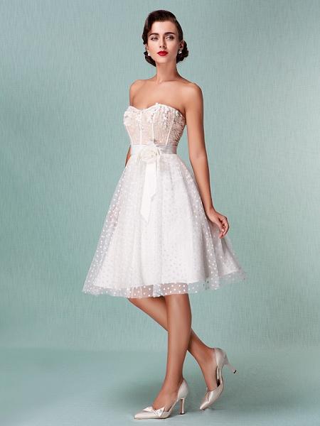 Princess A-Line Wedding Dresses Sweetheart Neckline Knee Length Tulle Strapless Little White Dress_4
