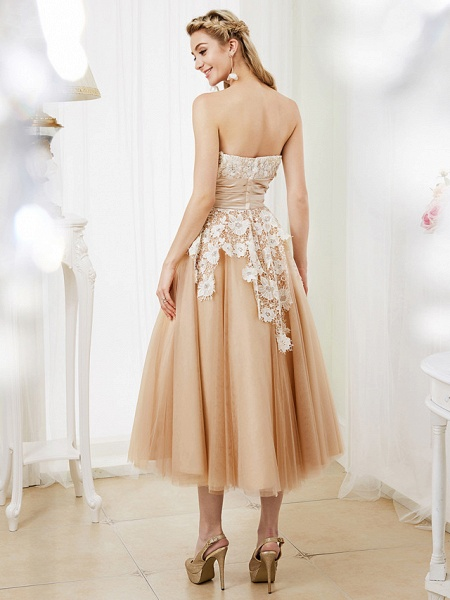 Ball Gown Wedding Dresses Strapless Tea Length Lace Satin Tulle Strapless Romantic Casual Illusion Detail_2