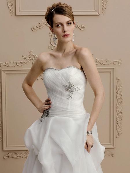 A-Line Wedding Dresses Strapless Asymmetrical Organza Sleeveless Open Back_4