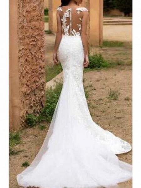 Mermaid \ Trumpet V Neck Sweep \ Brush Train Tulle Regular Straps Formal Wedding Dresses_2