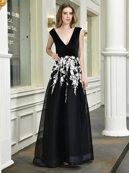 A-Line Wedding Dresses V Neck Floor Length Lace Tulle Regular Straps Sexy Black Modern_2