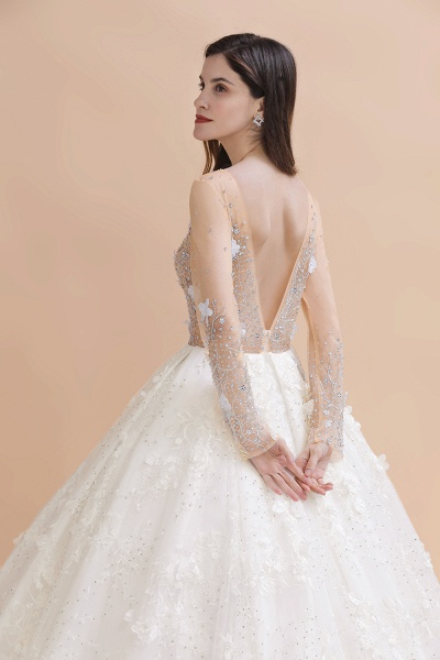 Floral Jewel Beads Long Sleeve Ball Gown Wedding Dresses_5