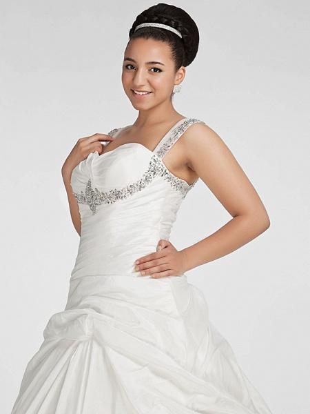 Ball Gown Sweetheart Neckline Chapel Train Taffeta Sleeveless Sparkle & Shine Wedding Dresses_10