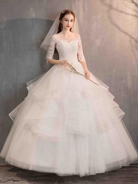 Ball Gown Wedding Dresses Jewel Neck Floor Length Lace Tulle Half Sleeve Glamorous See-Through Backless Illusion Sleeve_7