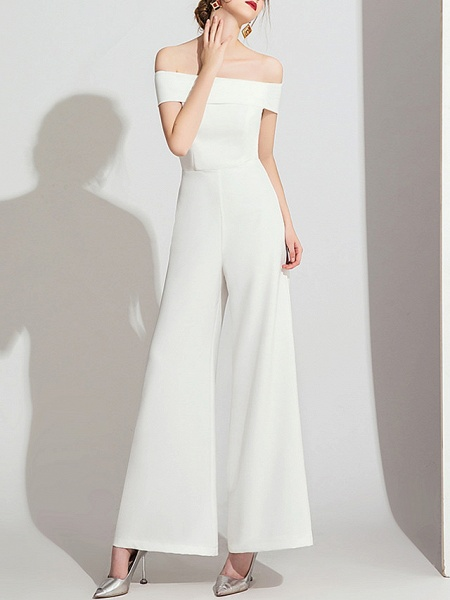 Jumpsuits Wedding Dresses Off Shoulder Floor Length Polyester Cap Sleeve Formal Simple_3