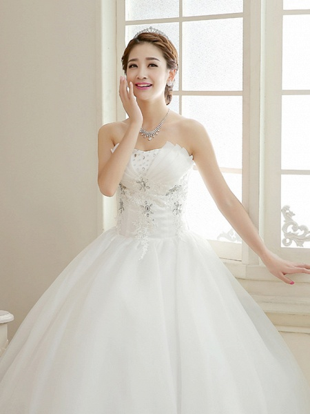 Ball Gown Wedding Dresses Sweetheart Neckline Floor Length Organza Strapless Glamorous Sparkle & Shine_4