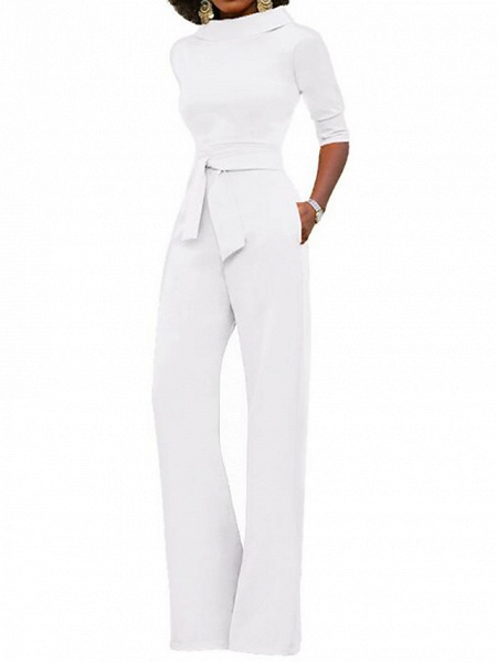 Women's Wide Leg Daily \ Weekend Turtleneck Wine White Black Wide Leg Slim Jumpsuit_7