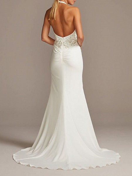 Mermaid \ Trumpet Wedding Dresses Halter Neck Plunging Neck Sweep \ Brush Train Polyester Sleeveless Country Plus Size_2