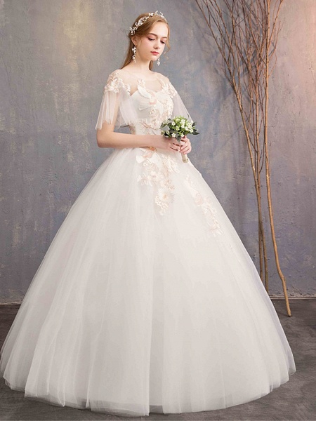 Ball Gown Wedding Dresses Bateau Neck Maxi Lace Tulle Short Sleeve Glamorous See-Through Backless_3