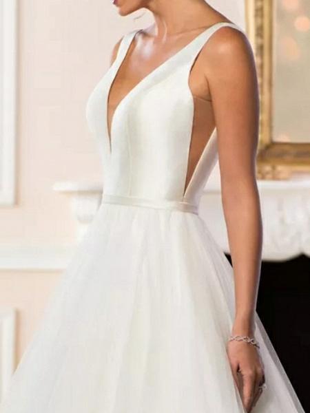 A-Line Wedding Dresses V Neck Sweep \ Brush Train Satin Tulle Regular Straps Simple Backless Elegant_4