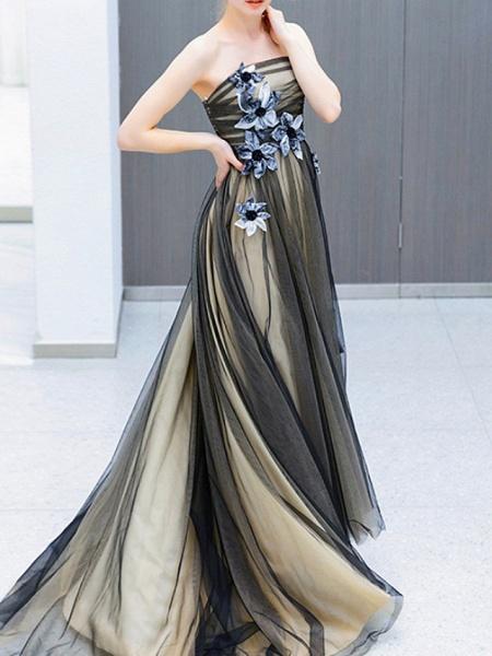 A-Line Wedding Dresses Strapless Sweep \ Brush Train Tulle Strapless Formal Black_1
