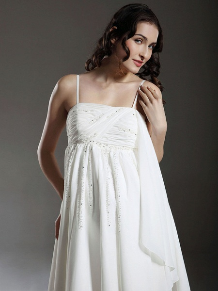Princess A-Line Wedding Dresses Spaghetti Strap Knee Length Chiffon Sleeveless Little White Dress_3