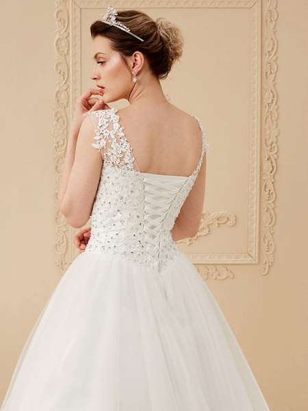 Ball Gown Wedding Dresses Scoop Neck Floor Length Beaded Lace Regular Straps Romantic Illusion Detail_5