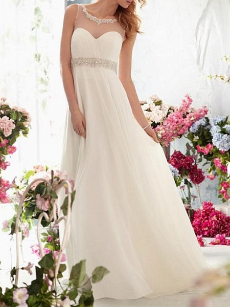 A-Line Wedding Dresses Jewel Neck Sweep \ Brush Train Chiffon Tulle Sleeveless Simple Beach See-Through Backless_1