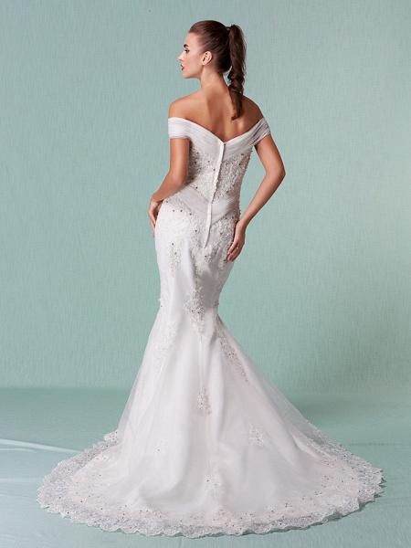 Mermaid \ Trumpet Wedding Dresses Off Shoulder Chapel Train Organza Short Sleeve_8