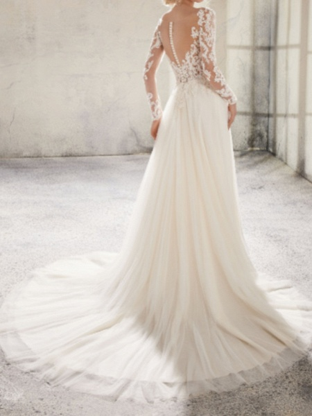 A-Line Wedding Dresses Jewel Neck Sweep \ Brush Train Lace Tulle Long Sleeve Country Plus Size_2